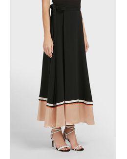 Leif Contrast Trim Silk-blend Skirt