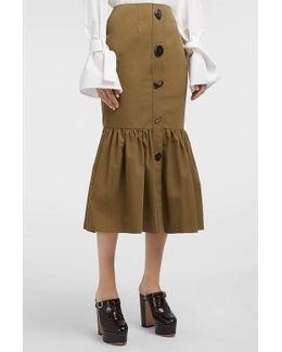 Paula Fluted Cotton-blend Skirt
