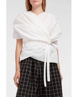 Ruched Cotton-blend Poplin Wrap Top