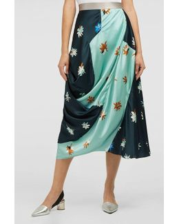 Caviana Printed Hammered Silk And Cotton-blend Skirt