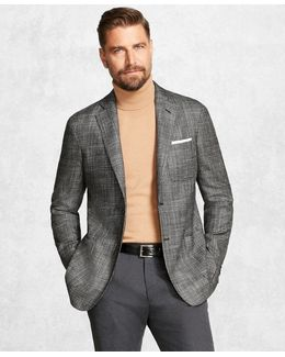 Golden Fleece® Brookscloudtm Black-and-white Plaid Sport Coat