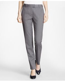 Tapered Pinstripe Stretch Wool Trousers