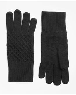 Mixed-stitch Merino Wool Gloves