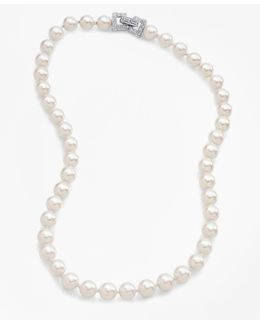"17"" 8mm Glass Pearl Necklace With Deco Clasp"