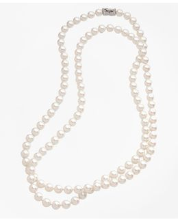 10mm Glass Pearl Necklace With Deco Clasp