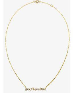 18k Yellow Gold Diamond Bar Necklace