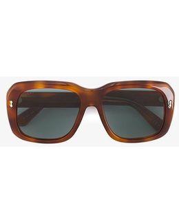 Square Frame Tortoiseshell Sunglasses