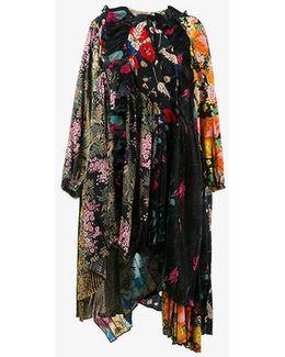 - Frilled Neckline Patchwork Dress - Women - Silk/polyester/viscose - 36