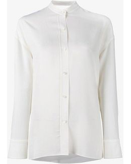 Tie-fastening Mandarin Shirt