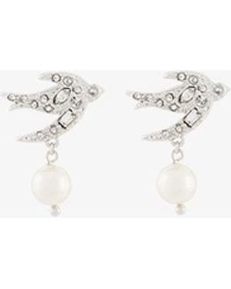 Crystal And Faux Pearl Embellished Swallow Earrings