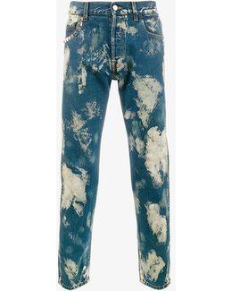 Bleached Denim Punk Pants