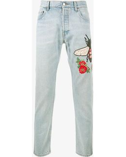 Embroidered Stone Bleached Jeans