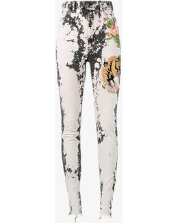 Bleached Embroidered Skinny Jeans