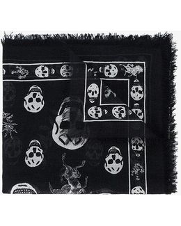 Romantic Weeds & Skull Printed Scarf