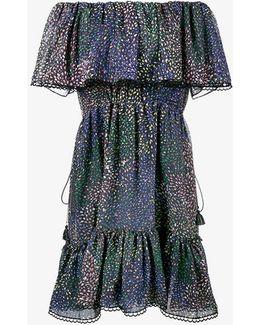 Lurex Firework Print Off-shoulder Dress