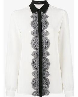 Paisley Lace-trim Silk Blouse
