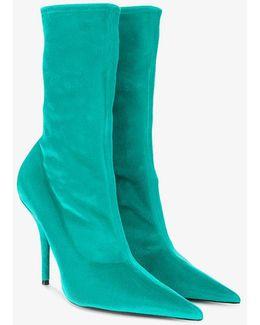 Blue Velvet Stiletto Knife Boots