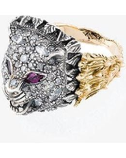 Diamond And Ruby Tiger Head Ring