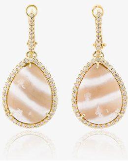 Diamond And Stone Drop Earrings