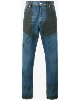 Dye Stained Tapered Jeans