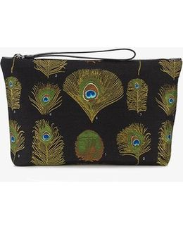 Peacock Wool Blend Jacquard Pouch