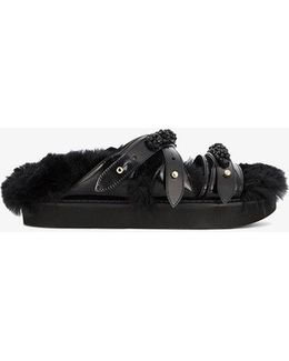 Faux Fur Lined Beaded Sandals