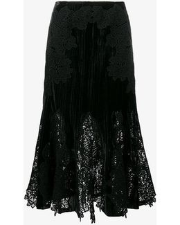 Velvet And Lace Embroidered Skirt