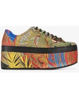 Tiger Jacquard Wedge Heel Sneakers