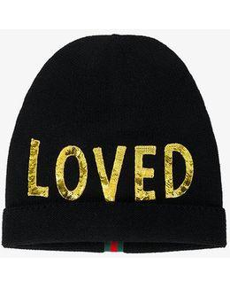 Loved Sequin Embellished Hat