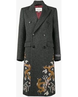 Oversized Tweed Coat With Tiger Embroidery And Motif On Sleeve