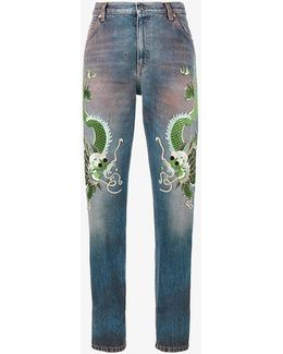 Low Rise Embroidered Boyfriend Jeans
