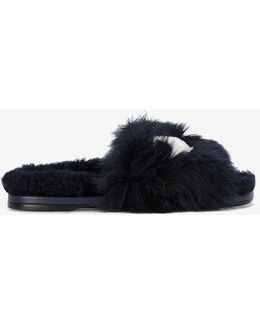 Shearling Slides With Eyes