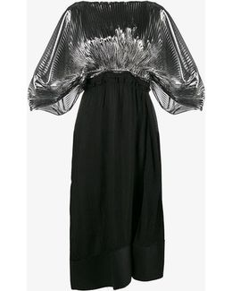 Pleated Leather Panelled Dress