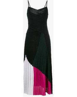 Tricolour Dress With V Neck And Spaghetti Straps
