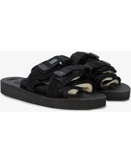 Moto-vs Suede And Webbing Sandals