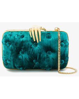Blue Carmen Clutch Bag With Hand Embellishment