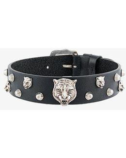 Leather Embellished Tiger Choker