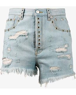 Stone Bleached Distressed Denim Shorts