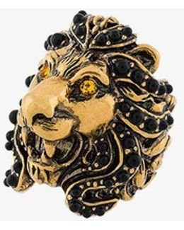 Lion Head Ring With Black Pearl