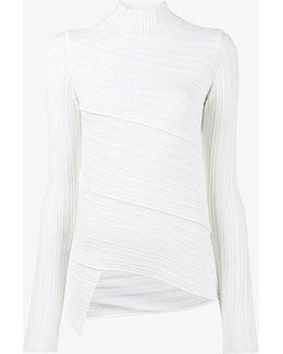 Spiral Knit High-neck Sweater
