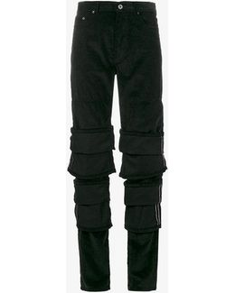 Black Turn-up Detail Jeans