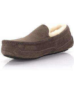 Slippers Ascot Leather Brown Lamb Fur