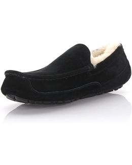 Slippers Ascot Leather Black Lamb Fur