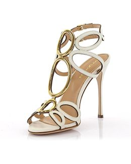 Sandals Farrah Leather White Gold