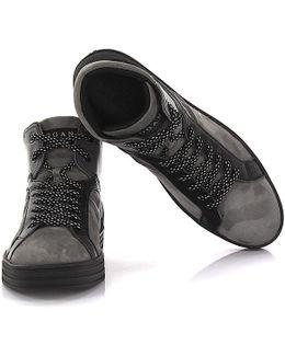 Sneakers High Top R141 Rebel Suede Black Grey