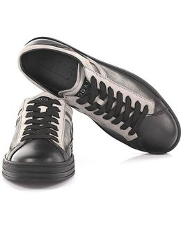 Sneakers R141 Leather And Suede Black Grey
