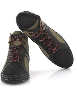 Sneakers High Rebel R141 Suede Olive Nubuck Leather Black