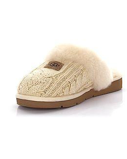 Slipper Cozy Knit Beige Lamb Fur