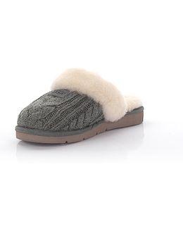 Loafer Cozy Knit Cable Grey Lamb Fur