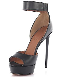 Sandals Shark Plateau Leather Black